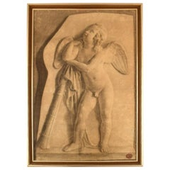 Jens Adolf Jerichau, Antique Pencil Drawing on Paper, Angel, Dated 1852