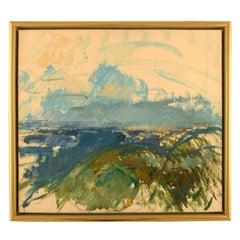 Jens Chr. Jacobsen, Modernist Landscape, Oil on Canvas, Dated 1966