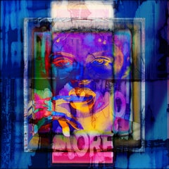 'Framed Color Face More And More' Digital Painting, Lamda Print