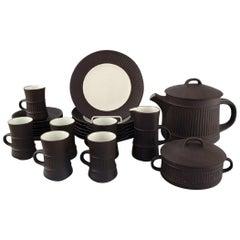 Jens H. Quistgaard, Denmark, Flamestone Tea Service in Stoneware
