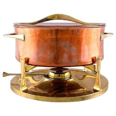 Jens H. Quistgaard, Fondue Pot in Brass and Copper Pot on Stand with Burner