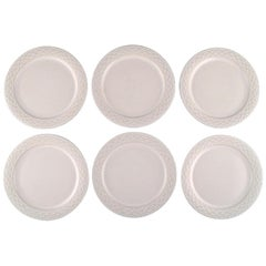 """Jens H. Quistgaard for Bing & Grondahl, Six White """"Cordial Palet"""" Lunch Plates"""