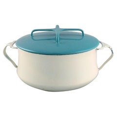 Jens H. Quistgaard Pot with Lid in Turquoise and Cream Colored Enamel