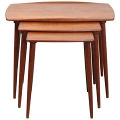 Jens H. Quistgaard Scandinavian Teak Nesting Tables for R. Nissen, 1960s