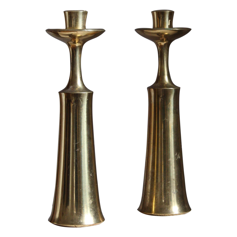 Jens Quistgaard, Candlesticks or Candleholders, Brass, Denmark, 1950s