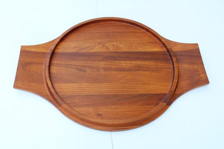 1960s large teak saving tray designed by Jens H Quistgaard for Dansk.