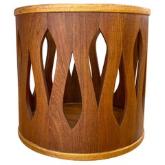 Jens Quistgaard for Dansk Staved Teak Wastebasket, Stool, or Table, Late 1950s