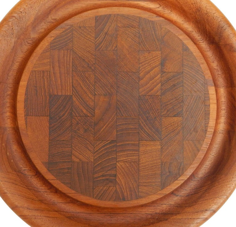 Mid-Century 1960s finely crafted teak and rosewood tray. Made in Denmark.