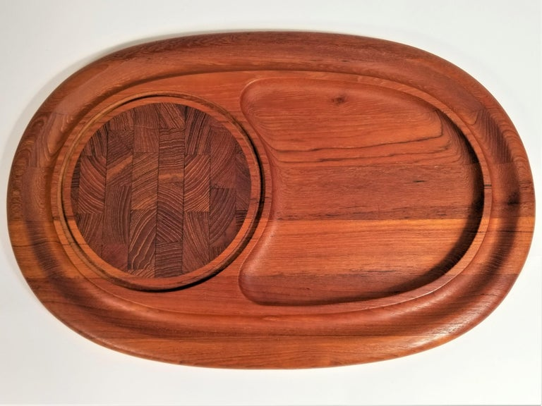 Midcentury 1960s signed Jens Quistgaard Dansk teak tray. Cheese or charcuterie. Board.