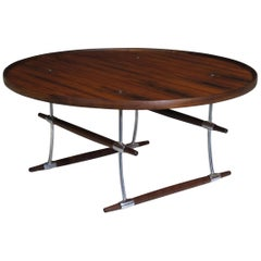 Jens Quistgaard for Nissen Langa Circular Rosewood and Chrome Coffee Table