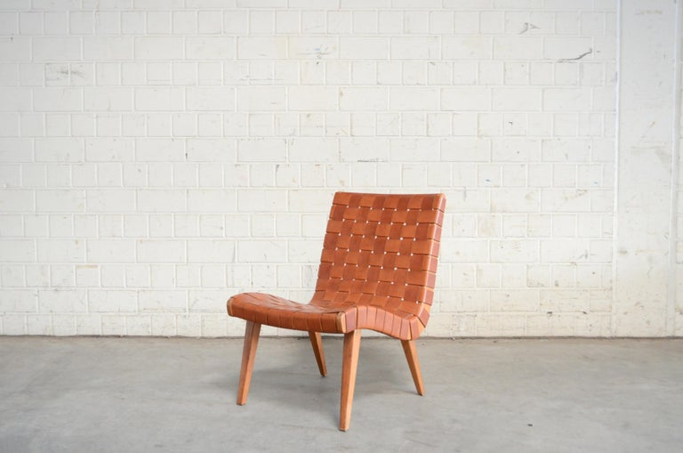 Jens Risom 654 Cognac Leather Lounge Chair by Walter Knoll/ Knoll International For Sale 7