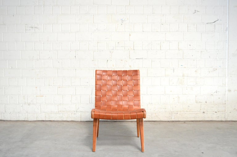 Jens Risom 654 Cognac Leather Lounge Chair by Walter Knoll/ Knoll International For Sale 8
