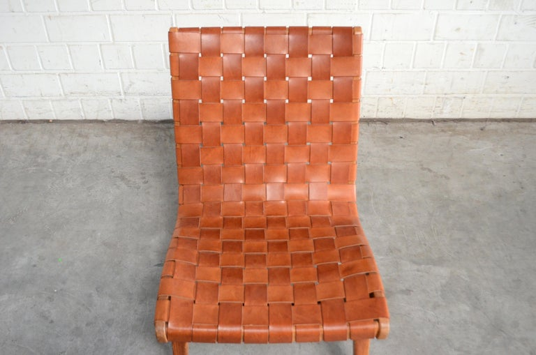 Mid-Century Modern Jens Risom 654 Cognac Leather Lounge Chair by Walter Knoll/ Knoll International For Sale