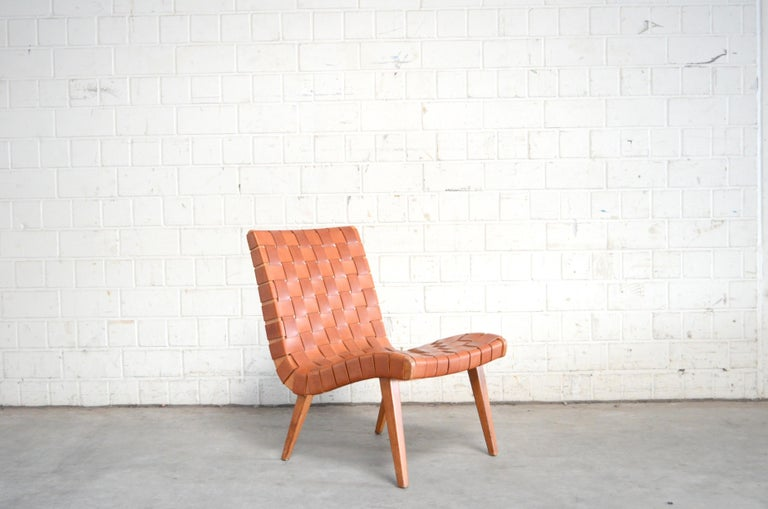Jens Risom 654 Cognac Leather Lounge Chair by Walter Knoll/ Knoll International In Good Condition For Sale In Munich, Bavaria