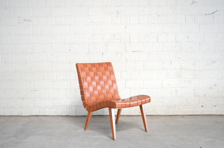 20th Century Jens Risom 654 Cognac Leather Lounge Chair by Walter Knoll/ Knoll International For Sale