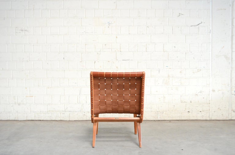 Jens Risom 654 Cognac Leather Lounge Chair by Walter Knoll/ Knoll International For Sale 2