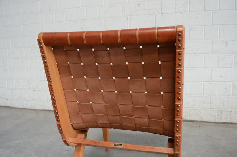 Jens Risom 654 Cognac Leather Lounge Chair by Walter Knoll/ Knoll International For Sale 3