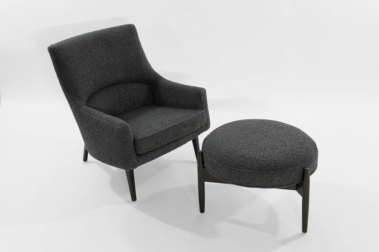 Mid-Century Modern Jens Risom A-Line Lounge Chair and Ottoman in Bouclé, circa 1950s