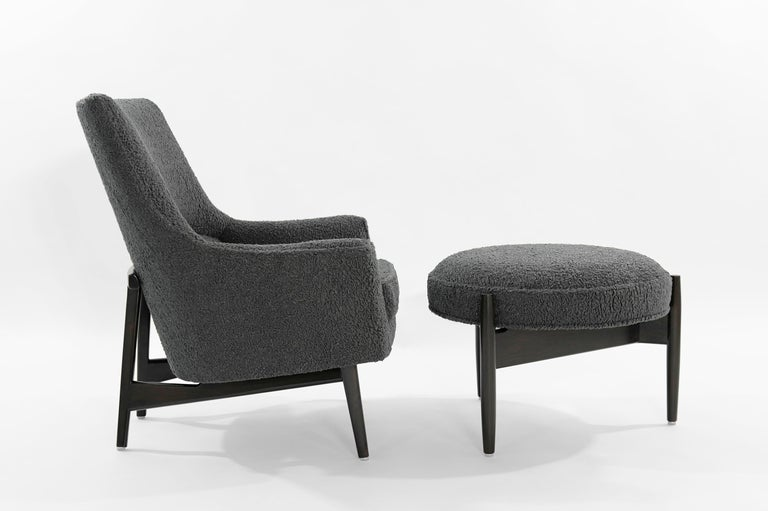 American Jens Risom A-Line Lounge Chair and Ottoman in Bouclé, circa 1950s