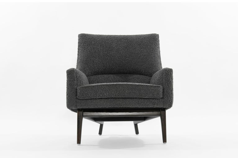 20th Century Jens Risom A-Line Lounge Chair and Ottoman in Bouclé, circa 1950s