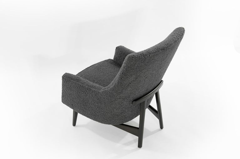 Jens Risom A-Line Lounge Chair and Ottoman in Bouclé, circa 1950s 2