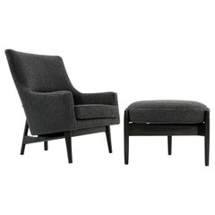 Jens Risom A-Line Lounge Chair and Ottoman in Bouclé, circa 1950s
