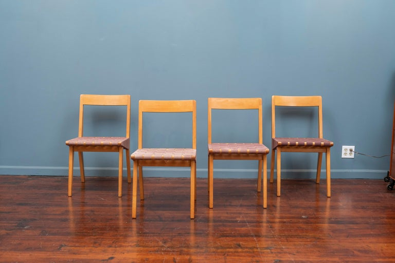 Jens Risom design side chairs for Knoll Associates, N.Y. Early modern design and the first designer to work with Knoll, labeled. All in good usable original condition.