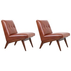 Jens Risom Cognac Leather Slipper Lounge Chairs for Knoll