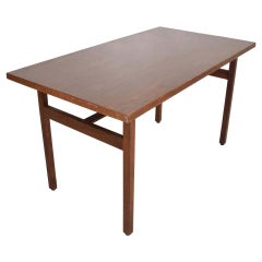 Jens Risom Compact Writing Desk, Floating Dining Table Walnut & Formica, 1950s