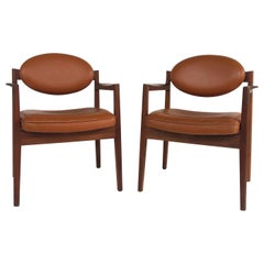 Jens Risom Design Pair of Oiled Walnut & Leather Upholstered Armchairs, c.1965
