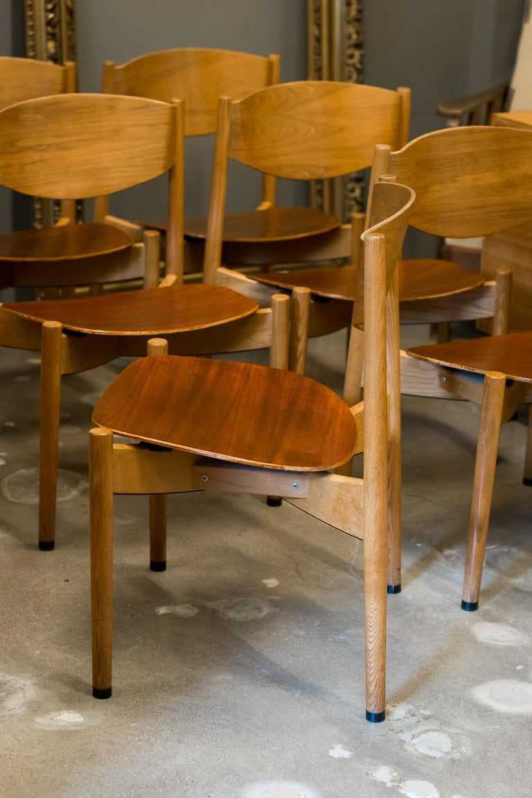 Jens Risom Dining Chairs, Set of 6 In Good Condition For Sale In Austin, TX