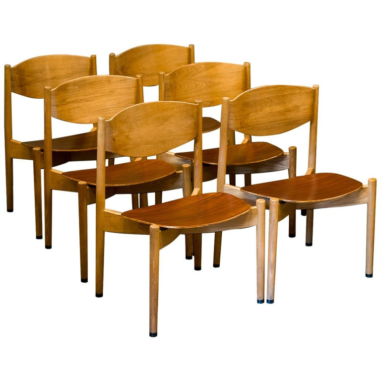 Jens Risom Dining Chairs, Set of 6 For Sale
