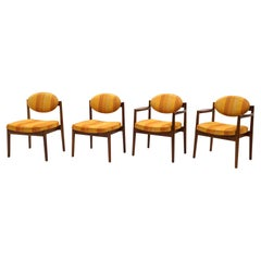 Jens Risom Dining Chairs, Set of Four, Two Arm and Two Side Chairs, Walnut
