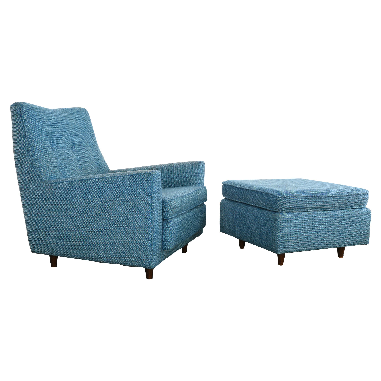 Jens Risom Easy Chair and Ottoman Model U333 and U790, 1959