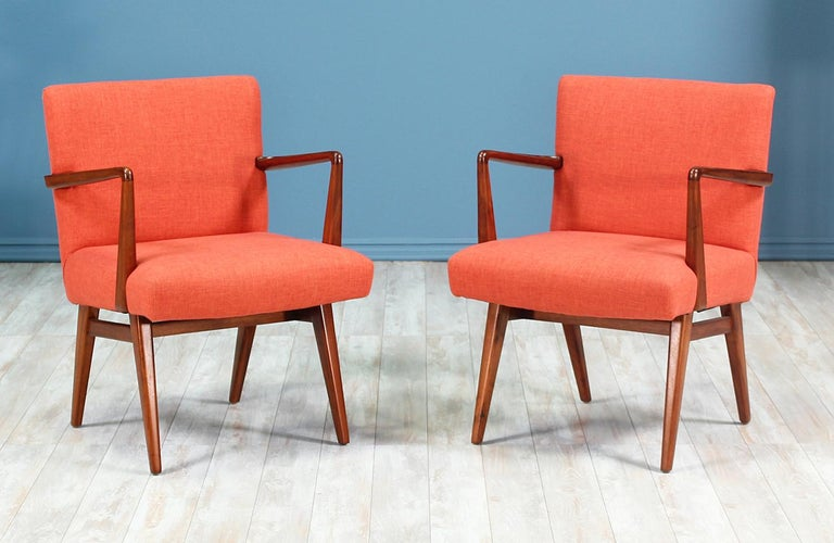 Fabric Jens Risom Easy Chairs for Knoll For Sale