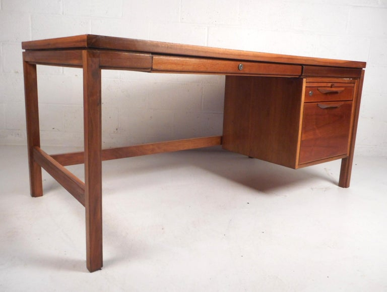 Mid-Century Modern Jens Risom Executive Desk with a Finished Back For Sale