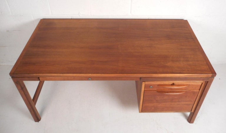American Jens Risom Executive Desk with a Finished Back For Sale