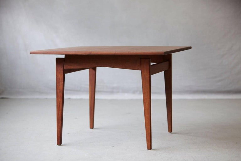 American Jens Risom Floating Square Walnut Coffee Table For Sale