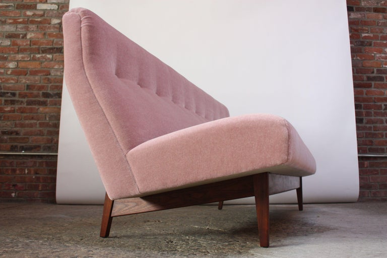 Mid-20th Century Jens Risom Floating Three-Seat Armless Sofa in Walnut and Mohair For Sale