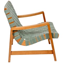 Jens Risom for Knoll Associates Webbed Lounge Chair with Sage Straps, 1940s