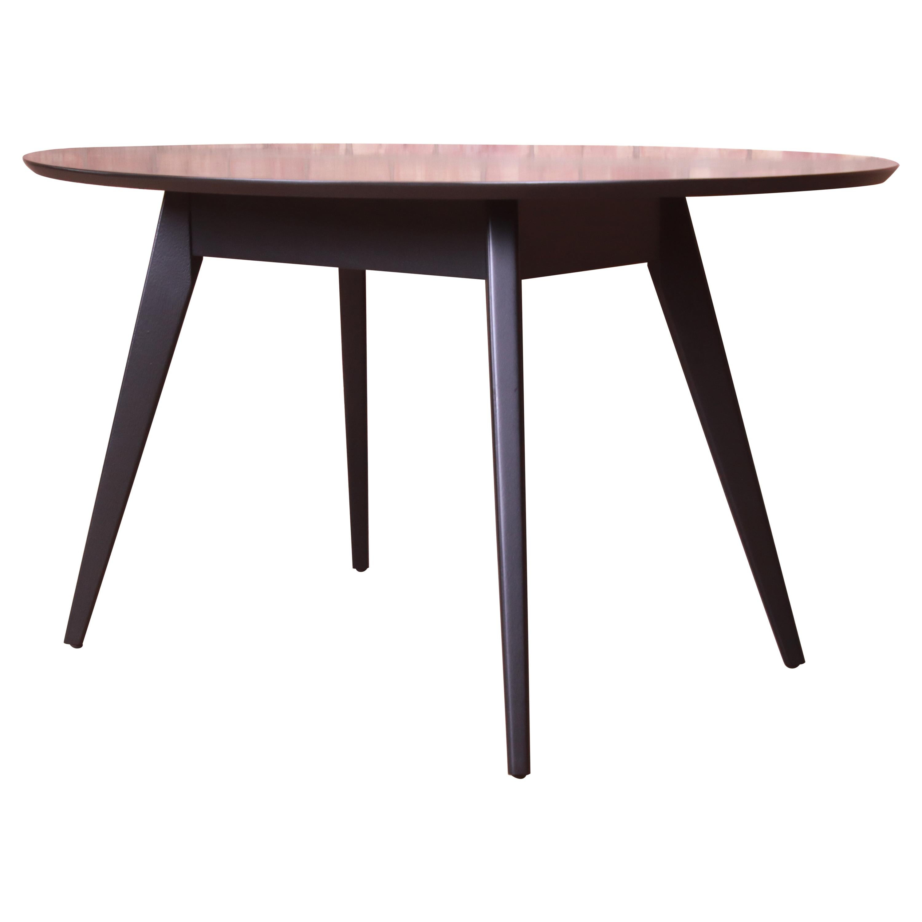 Jens Risom for Knoll Black Lacquered Dining or Game Table, Newly Refinished