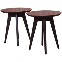 Jens Risom for Knoll Mid-Century Modern Black Lacquered Side Tables, Pair