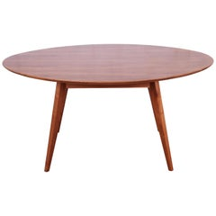 Jens Risom for Knoll Walnut Elliptical Dining or Game Table