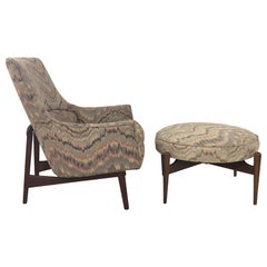 Jens Risom Lounge Chair and Matching Ottoman