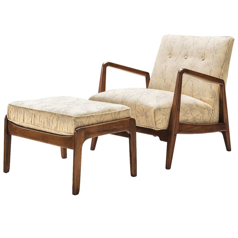 American Jens Risom Lounge Chair with Ottoman For Sale