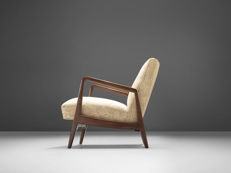 Mid-20th Century Jens Risom Lounge Chair with Ottoman For Sale