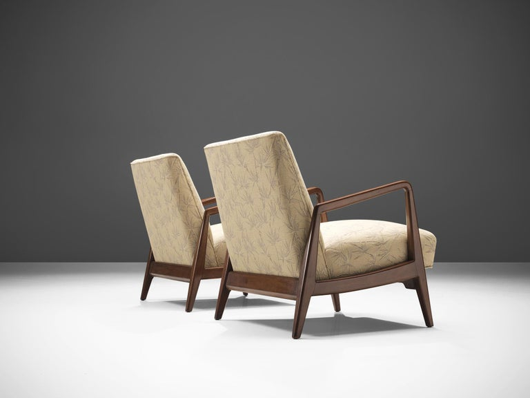 Fabric Jens Risom Lounge Chair with Ottoman For Sale