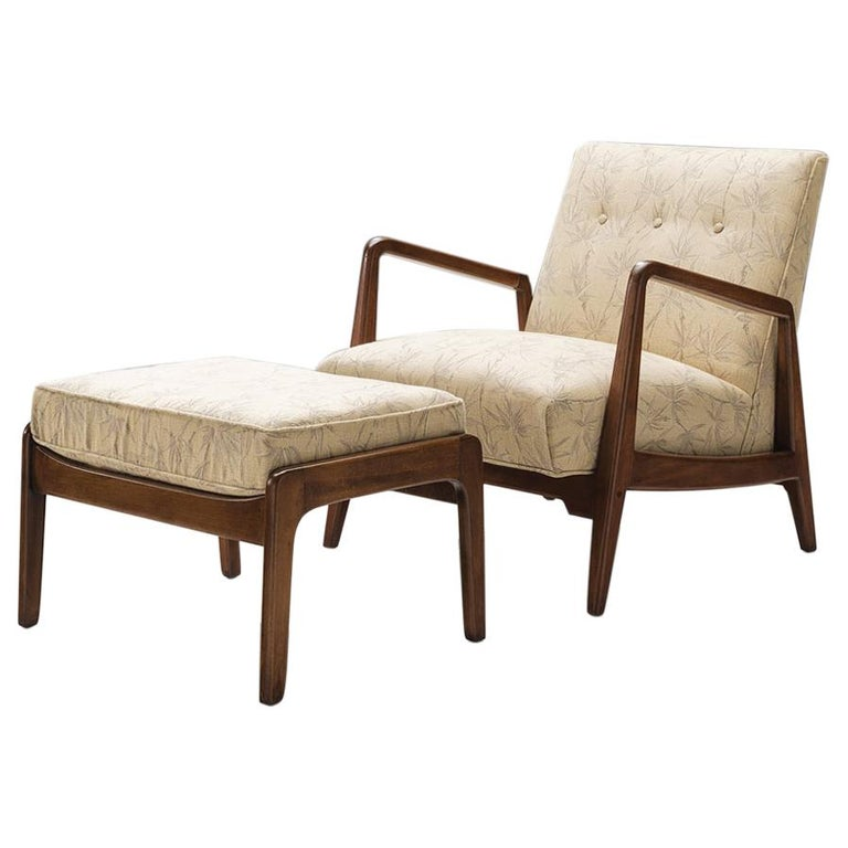 Jens Risom Lounge Chair with Ottoman For Sale
