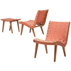 Jens Risom Lounge Chair with Ottoman Model 654