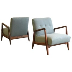 Jens Risom Lounge Chairs, Walnut and Knoll Bouclé